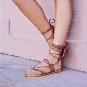 Thrill Mauve Suede Lace-up Sandals